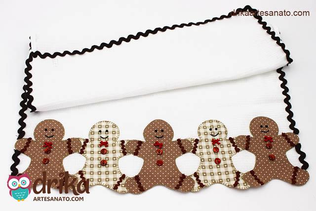 Pano de Prato com Aplique de Boneco Gingerbread