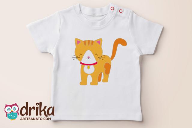 Camiseta com Aplique de Gatinho