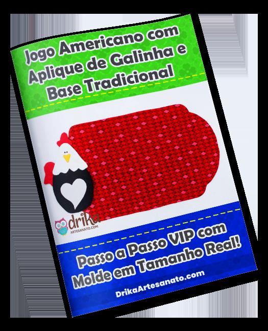 Jogo Americano com Aplique de Galinha e Base Tradicional