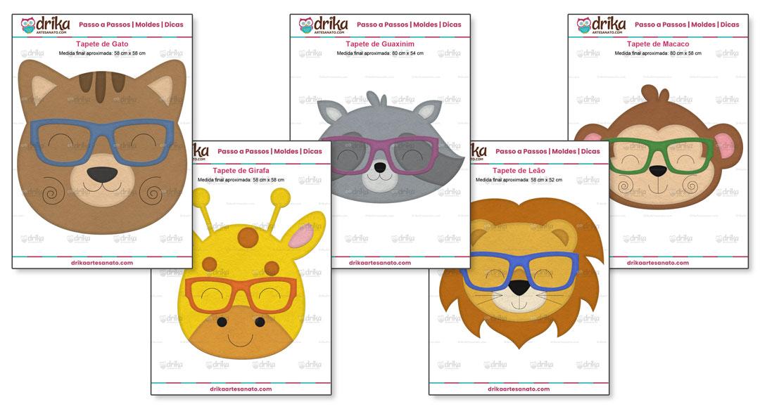 Projeto VIP Tapetes Amigos Fofinhos com 10 Modelos e 12 Moldes Bônus